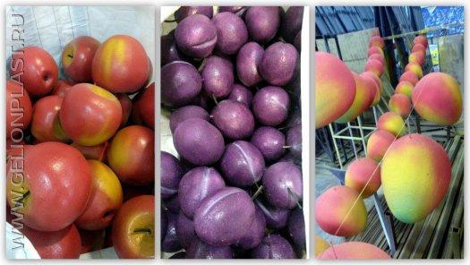 Яблоки, сливы и манго из пенопласта