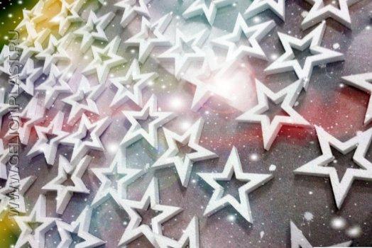 Звезды, снежинки, олени из пенопласта
