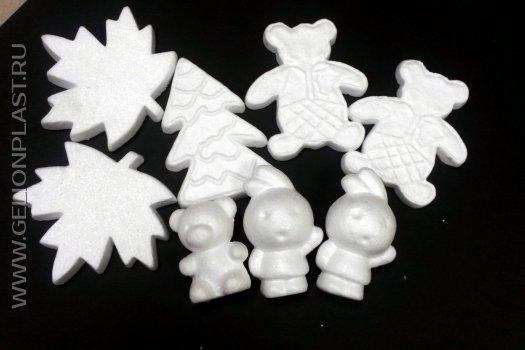 Готовые фигуры из пенопласта - листья, мишки, зайчики