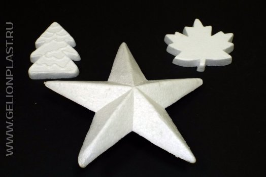 Готовые фигуры из пенопласта - листья, звезды, елочки