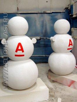 Снеговики из пенопласта для Альфа-Банка